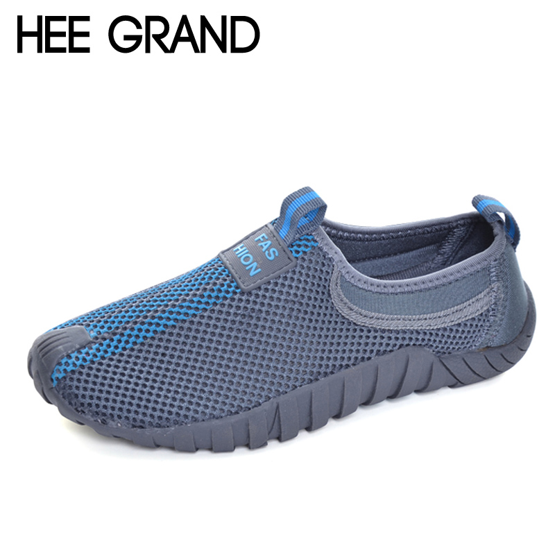 HEE GRAND Lovers Casual Shoes Man Breathable Slip On Loafers Mesh Shoes Unisex Platform Flats For Summer Size 35-44 XYP007 hee grand summer loafers split leather floral moccasin platform shoes woman slip on flats comfortable casual women shoes xwt1194