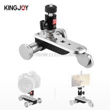 Kingjoy PPL-06S electric 3 wheels Video pulley Car tripod mini phone mount adapter for Smartphone DSLR mirrorless GoPro Camera