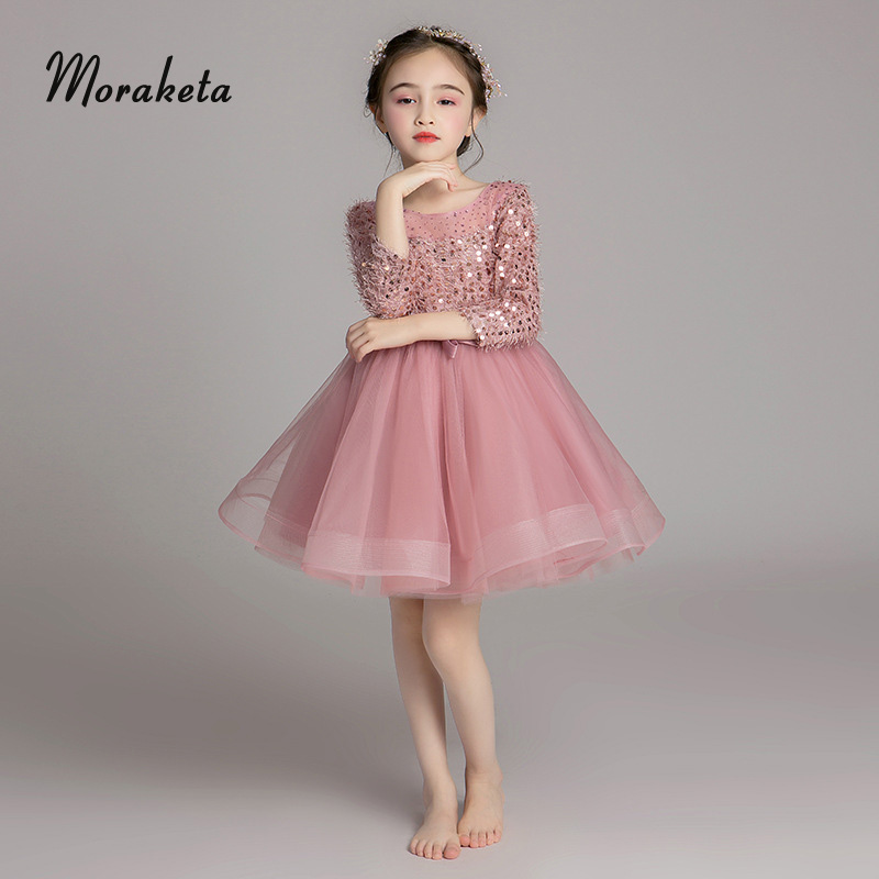 Pink Feather Sequined Knee Length Short Kids Evening Dresses 2019 Tulle Ball Gown Princess  Flower Girl Dresses For Wedding