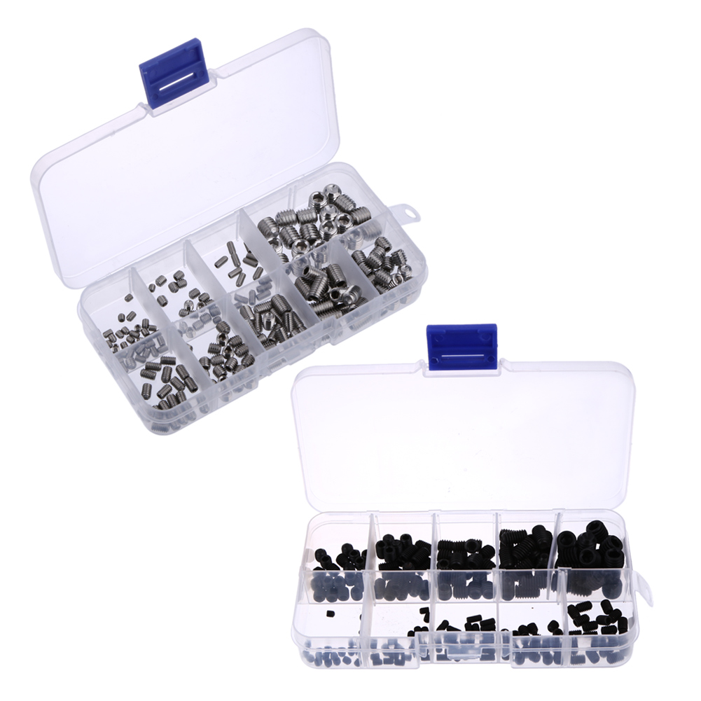 200Pcs/Set Stainless Steel Hex Socket Set Screw Grub Screws Cup Point Assortment Kit M3-M8 With Plastic Box 200pcs set stainless steel allen head socket hex set grub screw assortment cup point m3 m4 m5 m6 m8