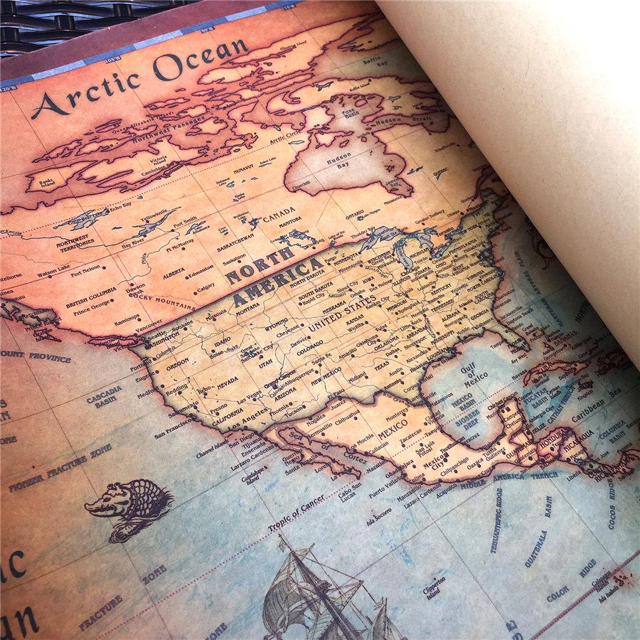 Vintaj Dünya xəritəsi Divar stikeri Retro afişa Qonaq otağı - Ev dekoru - Fotoqrafiya 6