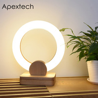 Apextech LED Table Lamp Wood+PMMA Ring Shaped Desk Reading Light Simple fashion Style Bedroom Night Light For Home Decoration