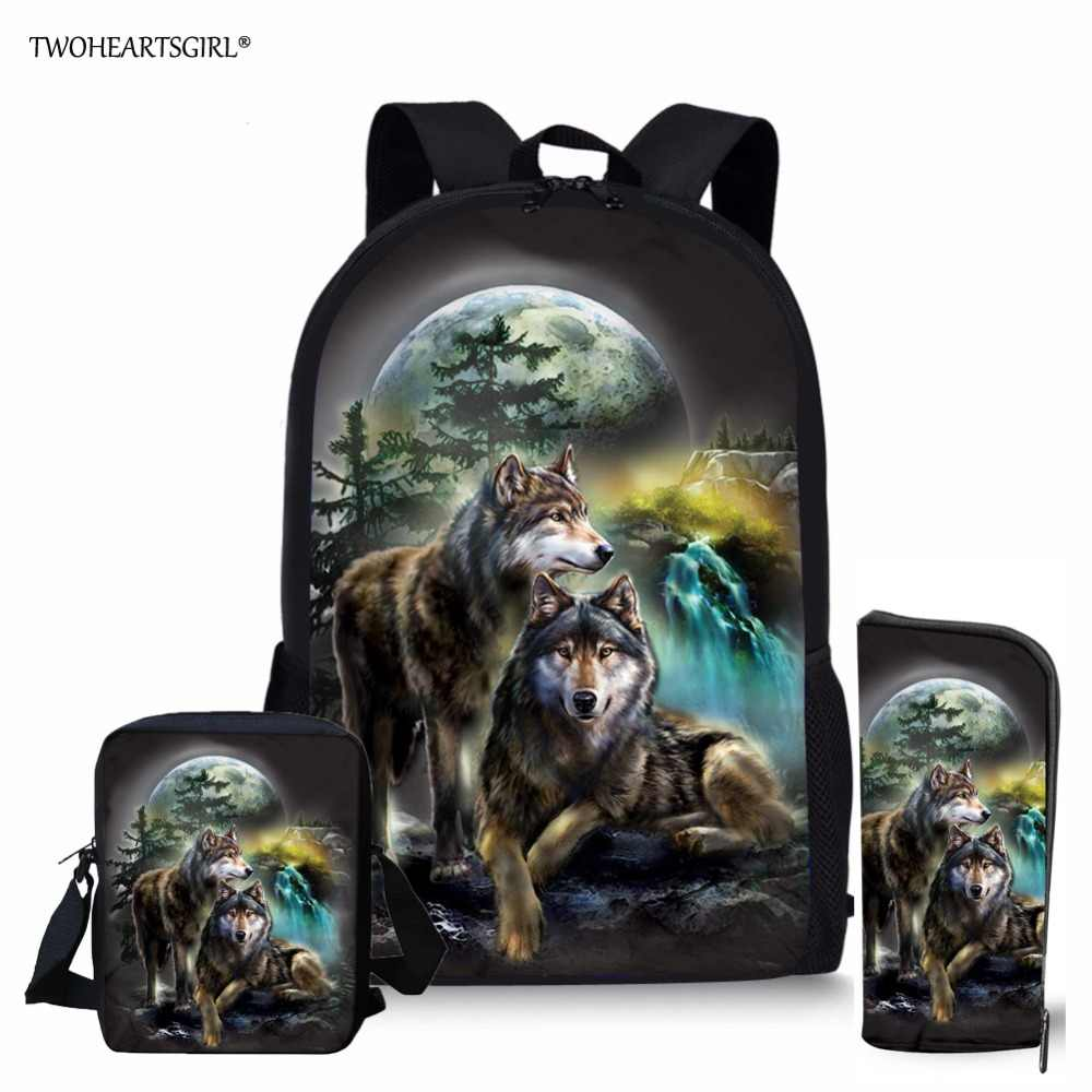 Twoheartsgirl Cool Wolf Printed Schoolbags for Teenager Girls Boys School Bag Sets for Children Fashion Kids School Backpacks