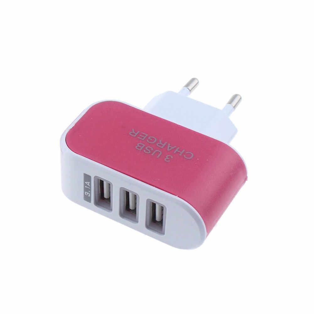 3 puertos 3.1A Triple Puerto USB cargador adaptador UE enchufe pared hogar viaje AC cargador de teléfono móvil para iphone para samsung