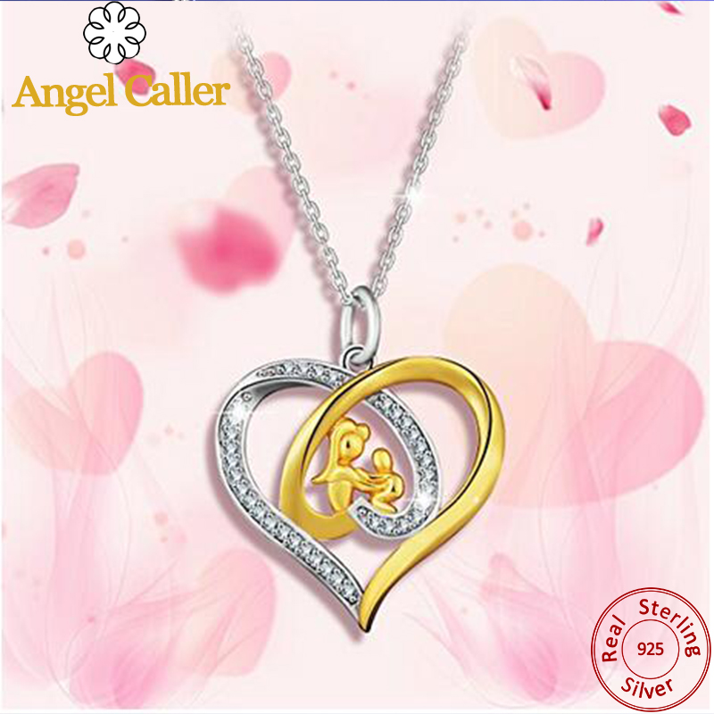 Women Necklace Baby Foot and Mother Heart Design 925 Sterling Silver Pink Zircon
