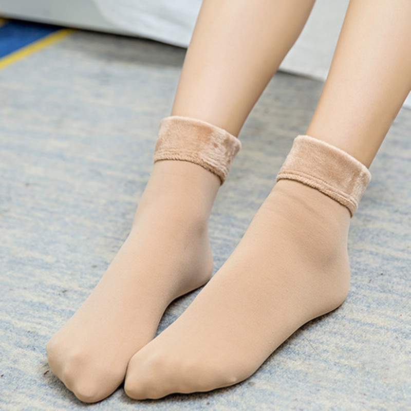 Casual   Socks   For Women Nylon Plus Velvet Thickening   Socks   Solid Breathable Elastic Force Lady's Mid Women   Socks   Winter