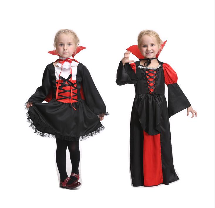 2 Styles Kids Vampire Costume Dress Halloween Cosplay For Girls Performance Skirts Party Cosplay Carnival Clothing