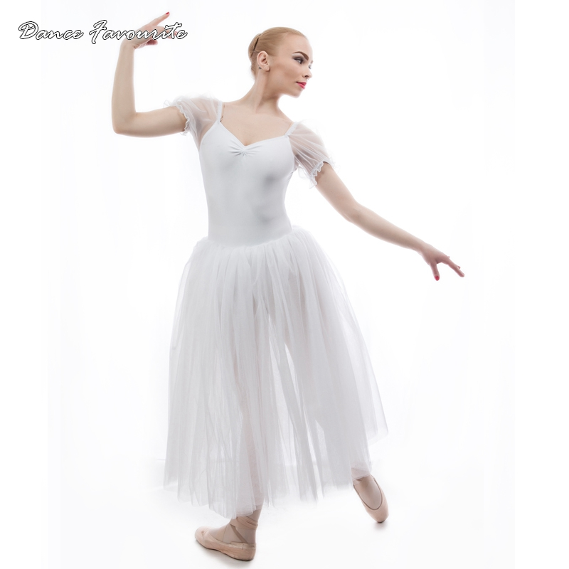 New arrival Long Ballet Tutu Short Puff Sleeve Adult Ballet Costumes Ballerina dance tutu