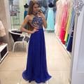 Azul real de La Gasa Brillante vestido de Noche Formal Vestidos Largos Sin Mangas Halter 2017 vestido de festa Rebordear Zipper Partido Prom Vestidos