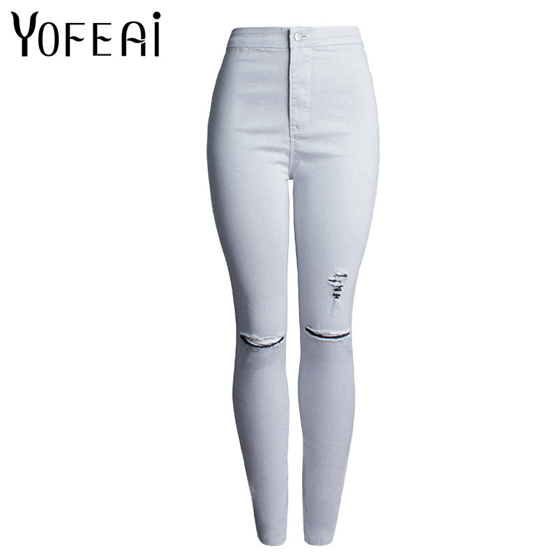 YOFEAI 2017 Ripped Jeans For Women Fashion High Waist Jeans Skinny jeans Women Sexy Pencil Jeans