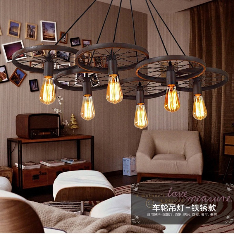 loft metalen wiel hanglampen amerikaanse land lampen vintage verlichting voor restaurantslaapkamer woondecoratie zwart