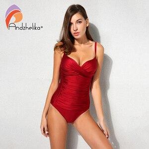 Image 1 - Andzhelika 2018 New Women One Piece Swimsuit Solid Sexy Fold Swimwear Swim Suits Bodysuit Summer Beach Bathing Suit AK1905