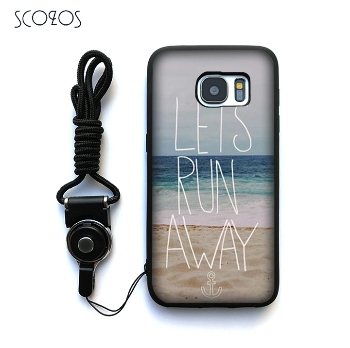 SCOZOS Lets Run Away Anchor Beach Quote Case Cover For Samsung Galaxy S6 S7 S7 edge S8 S8 Plus J3 J5 J7 A3 A5 A7 2016 Note 8