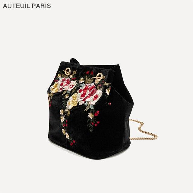AUTEUIL PARIS Winter Velour Shoulder Bags Women Embroidery Handbag Ladies Velvet Shoulder Bag Elegant Autumn Floral Chain Bags