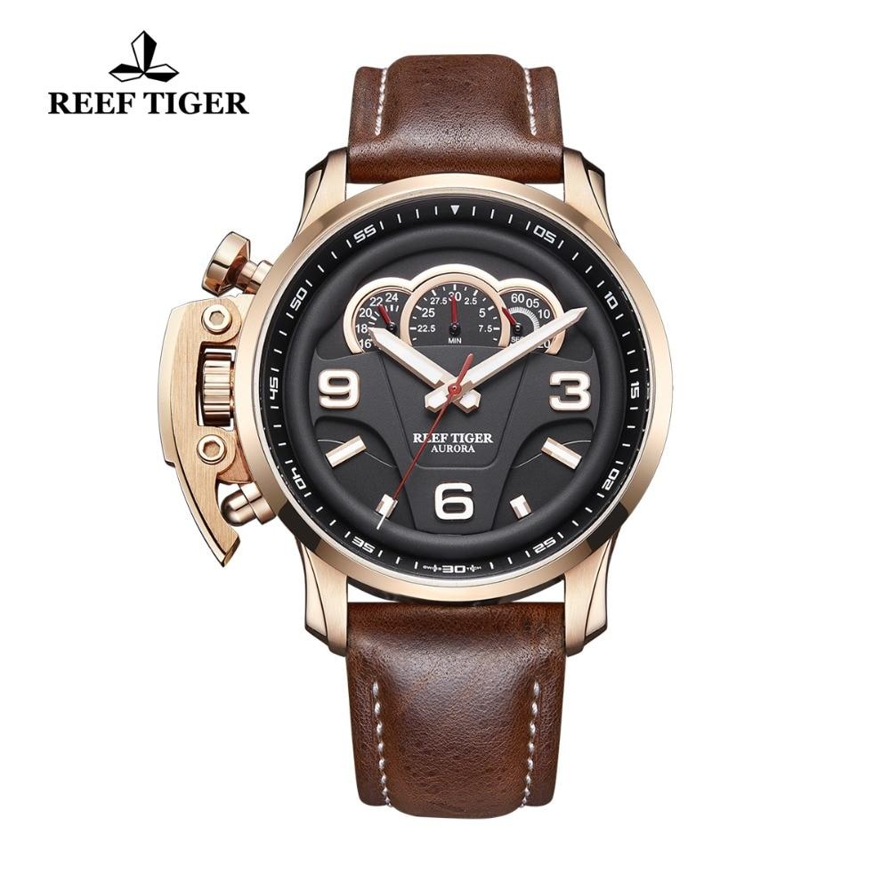 2018 Reef Tiger/RT Top Brand Luxury Men Sport Watches Chronograph Luminous Rose Gold Waterproof Analog Watches RGA2105