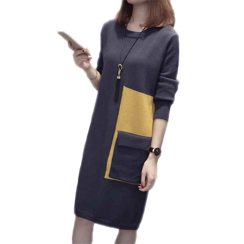 2018 가을 겨울 니트 코 튼 여자 스웨터 드레스 여성 패치 워크 큰 주머니 특대 니트 플러스 크기 3xl 풀 오버 a22