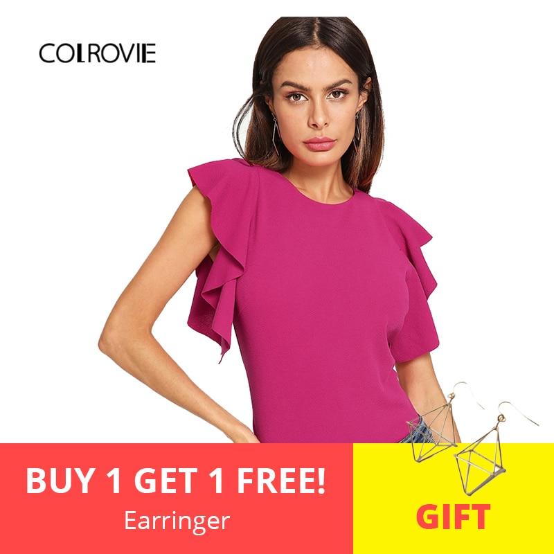 COLROVIE Hot Pink Ruffle Armhole Solid Elegant   Blouse     Shirt   Women 2019 Summer Slim Fit Cap Sleeve   Shirts   Office Ladies Tops