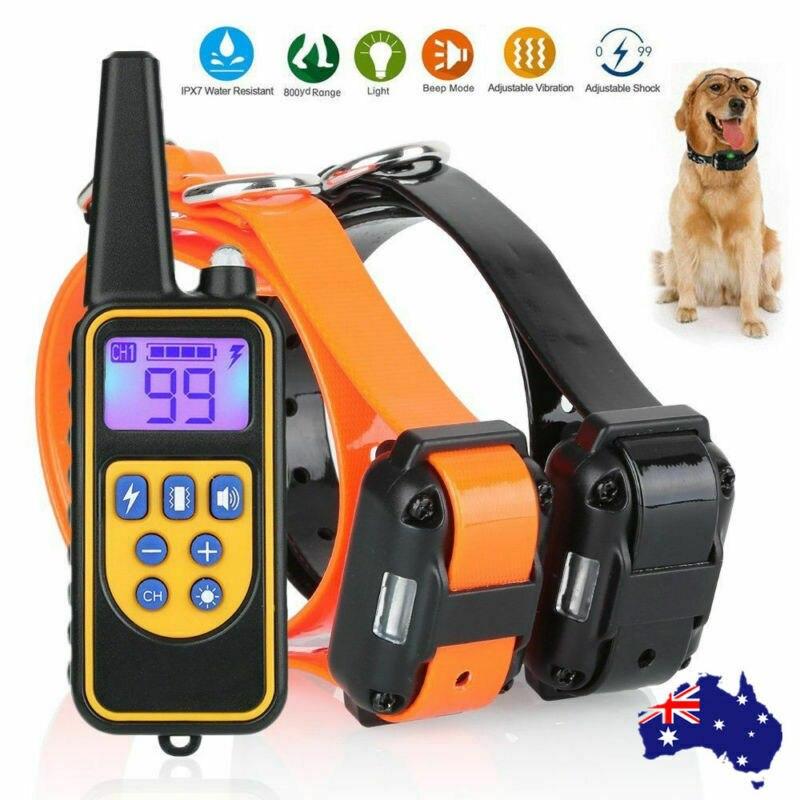 Colar Do Treinamento Do Cão elétrico 800 Metros Controle Remoto Bark Stop IP6X Recarregável Colar de Choque Do Cão À Prova D' Água de Som Vibração