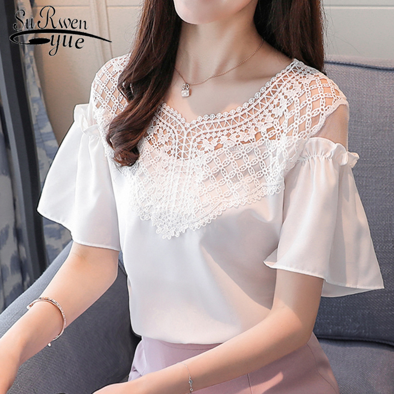 2019 summer short sleeve chiffon women   blouse     shirt   white v-neck women's tops sexy hollow out women's clothing blusas D711 30
