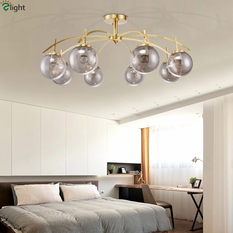 Modern Nordic Indoor Lighting Copper Led Chandelier Light Painted Metal Gray Glass Shades Chandelier For Foyer BedroomModern Nordic Indoor Lighting Copper Led Chandelier Light Painted Metal Gray Glass Shades Chandelier For Foyer Bedroom
