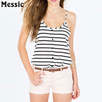 Messic 2018 Women Summer Healthy Basic Tops Striped Printed Camisole Simple Casual Knit Comfortable Fabric Sleeveless