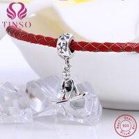 Hoge Kwaliteit Authentieke 100% 925 Sterling Zilver Ski Jongen Hanger Bedels Fit Pandora Armband 925 Zilveren Sieraden Maken DIY