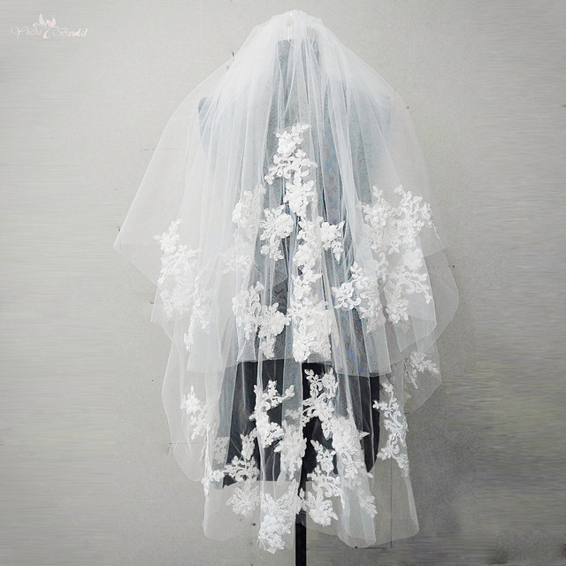 RSV35 Lace Wedding Veil With Flowers