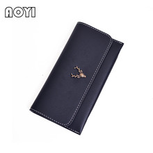 AOYI Brand Leather Women Wallet Long Thin Purse Multiple Cards Holder Clutch Bag Fashion Standard Wallet Women Purse