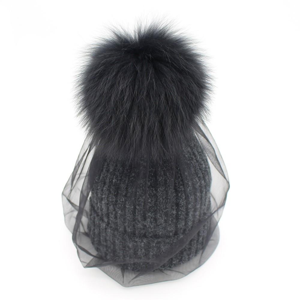Minhui Real Fox Fur Pom Poms Hat Wool Rabbit Fur Knitted Hat ... 5bd804c21c8