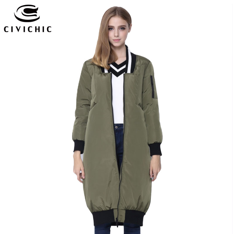 CIVICHIC Hot Sale Winter Lady Baseball Uniform Down Jacket Long Thicken Warm Parka Coat Casual Mid Long Eiderdown Clothing DC578