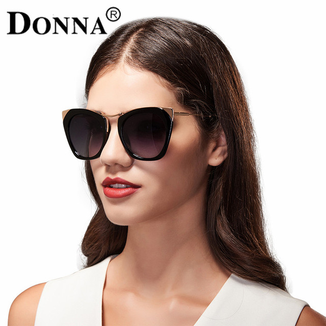 Donna Sunglasses Women Cat Eye Glasses Oversized Brand Design Mirrored Coating Glasses Brown For Lady Girl D11