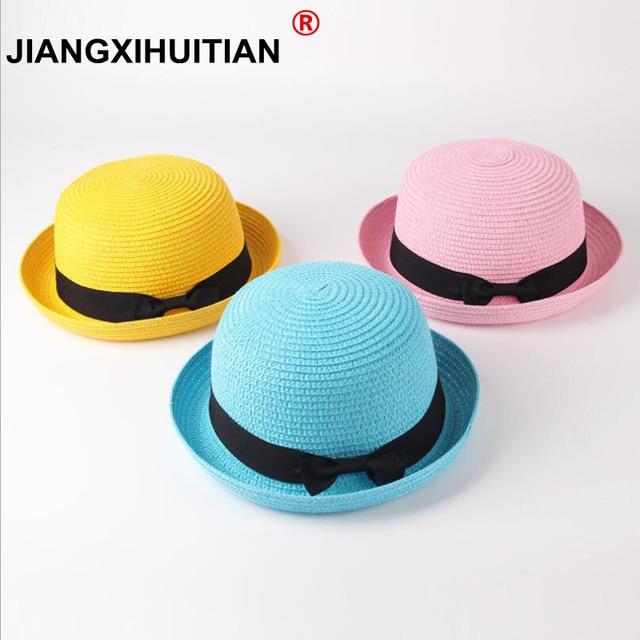 1ac61848b86 Fashion Ear bow Straw Hats Baby Hats For Girls Bucket Hat Boys Cap Children  Sun Summer Cap Kids Solid Beach Panama Caps 20 color