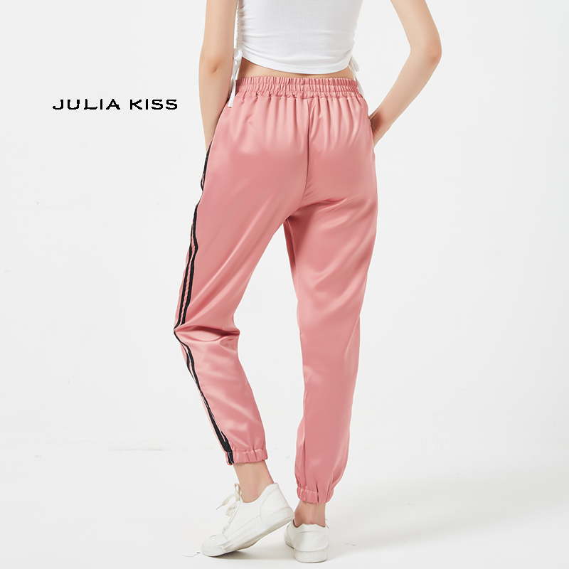 Women Side Striped Satin Trainer Joggers Tigger Embroidery Satin Pants-in  Pants   Capris from Women s Clothing on Aliexpress.com  81dbe44f10b