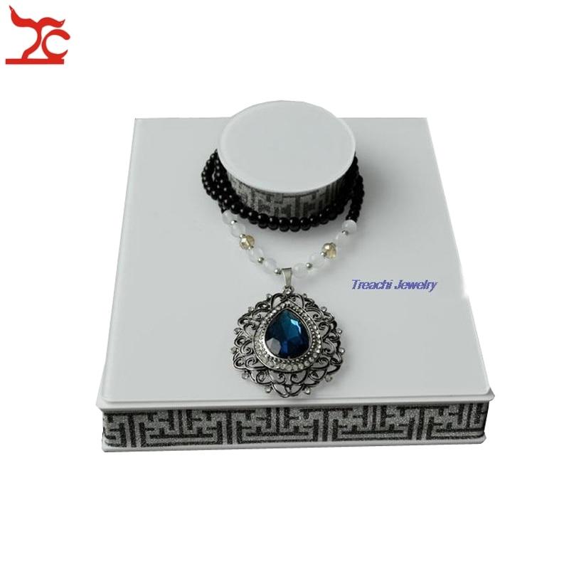 Luxury Necklace Box White Acrylic Jewellery Display Holder Rack Fashion Windows Showcase Jewellery Ideas Free shipping jewellery