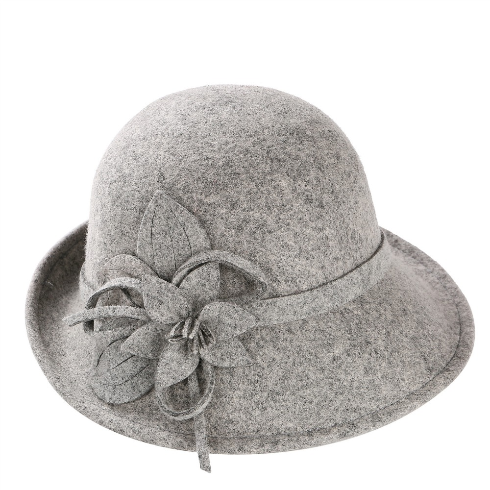 01808-ju-2017110035 100% wool British Elegant style lady flower leisure cap women fedoras hat wholesale