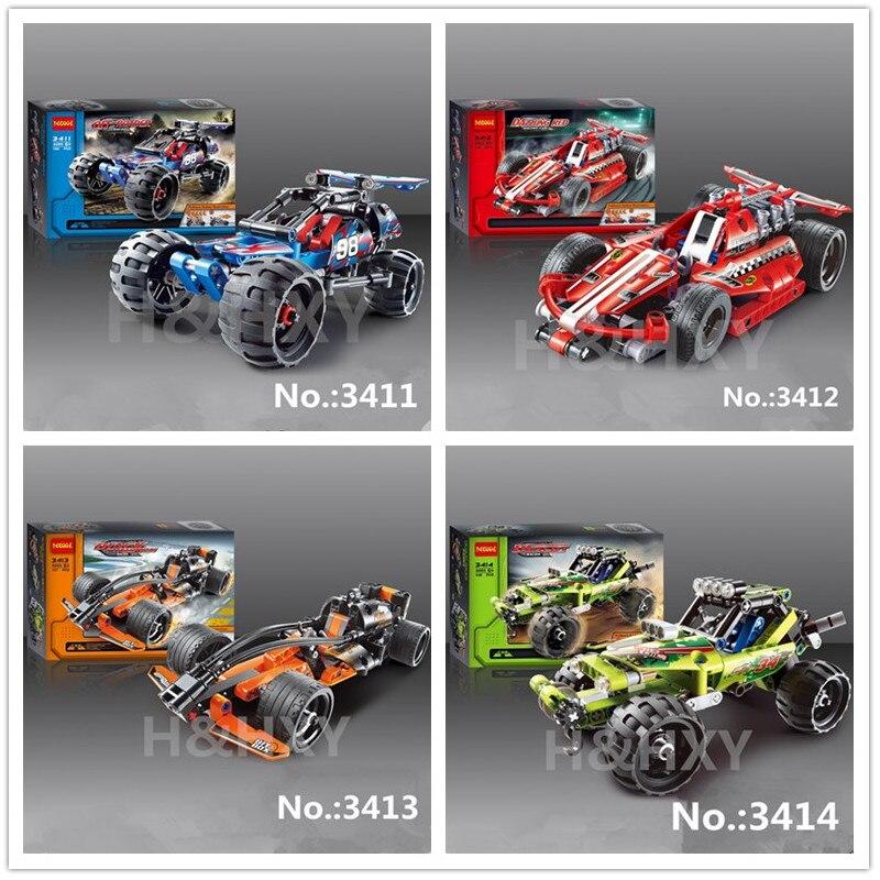 IN LAGER H & HXY Warrior off-roader Racer Pull Zurück Technic Auto Baustein Sets Spielzeug Decool 3411 3412 3413 3414 kinder geschenke