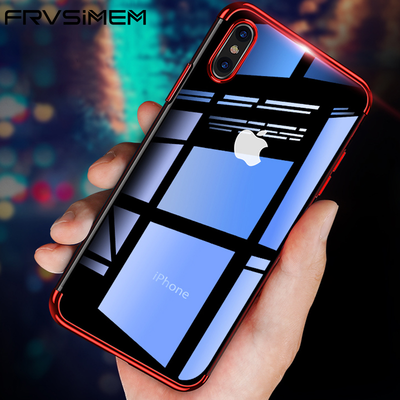 f432fc59798 For iPhone X XS Max XR 7 8 Plus 6 6s Plating Transparent TPU Case Silicone  Soft Cases For Apple iPhone X Xs X R S Max Cases 8P