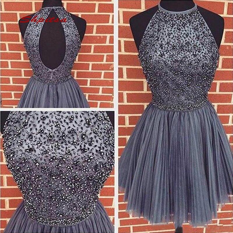 Grey Luxury Short Cocktail Dresses Party Graduation Women Prom Plus Size Homecoming Coctail Mini Semi Formal Dresses