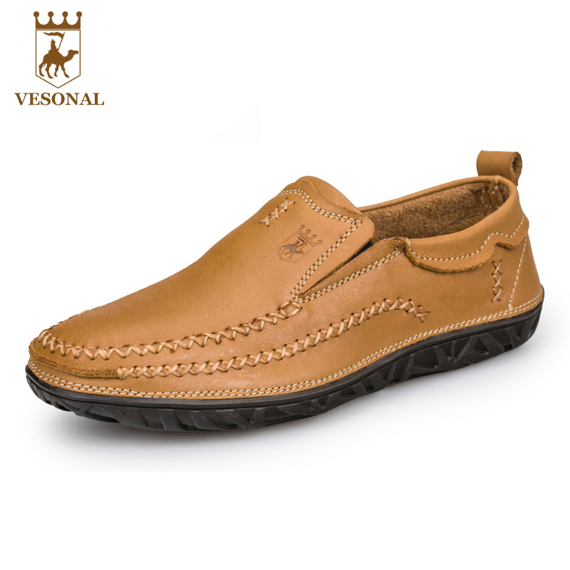 VESONAL Hot Sale 2017 Spring Summer Brand Casual Shoes Men Loafers Adult Leather Mocassin Male Breathable For Man Footwear Boat men 2017 spring summer fashion shoes lace up low breathable male flats casual shoes students loafers white khaki shoe hot sale