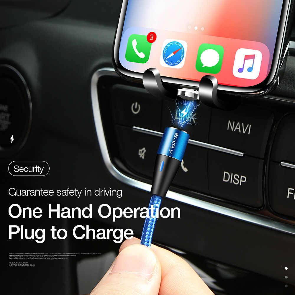 Магнитный зарядный кабель RAXFLY 3A для iPhone Xiaomi mi A2 Быстрая зарядка mi cro usb type C кабель освещения Магнитный кабель 1 м Кабо провод