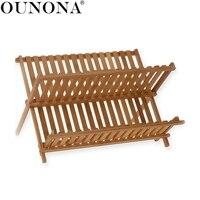 OUNONA Folding Bamboo Dish Rack Drying Rack Holder Utensil Drainer Plate Storage Holder Plate Wooden Flatware Dish Rack