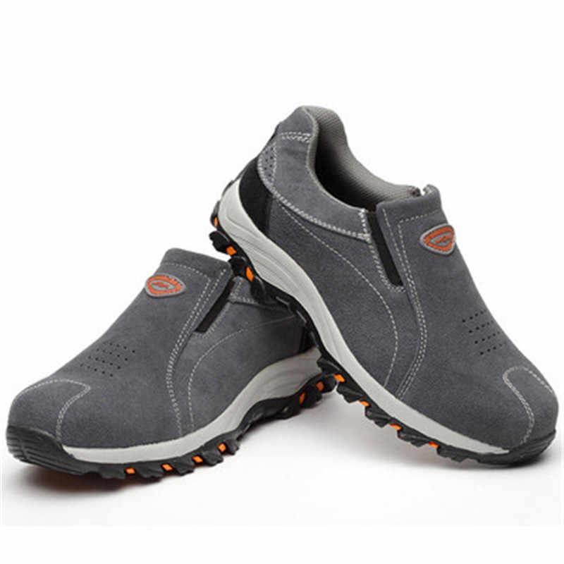Брендовые женские и мужские рабочие ботинки со стальным носком больших размеров 39-46 мужские и женские ботинки из натуральной кожи со стальной подошвой армейские ботинки