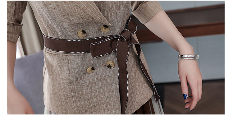2019 Two Piece Sets Outfits Women Office Suit With Belt And Pleated Skirt Suits Vintage Korean Ladies 2 Piece Sets Femme 48