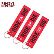 Motosiklet için 3 ADET RIDE OR DIE Anahtarlık Moda Anahtar Yüzükler Nakış Anahtar Etiketi llavero Araba Parçaları ve Aksesuarlar...