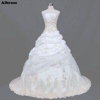 Sexy Strapless White Wedding Dress Appliques Sequined Beaded Elegant Wedding Dresses Taffeta Bridal Gowns Draped Robe