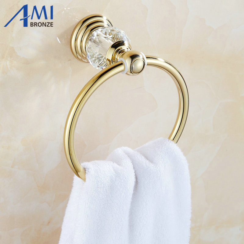61 crystal series gold polished brass towel ring with crystal wall mounted towel shelf bathroom accessories