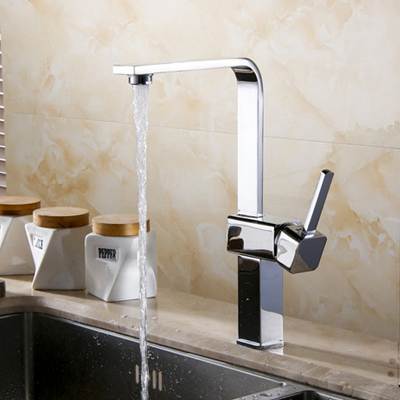 Free shipping Luxury polished chrome kitchen sink faucet with single handle solid brass kitchen sink water