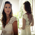 Beautiful Bohemian Wedding Dresses Short Sleeve Lace Applique Bridal Gowns V-Neck Sweep Train with Beading Beach Wedding Dress