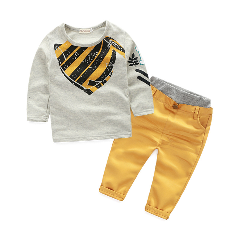 Fashion Baby Boys clothes Kids Long Sleeve Cotton Grey Sweater T-shirt +Khaki Trousers 2pcs Trend Children Clothing Set 2-7years