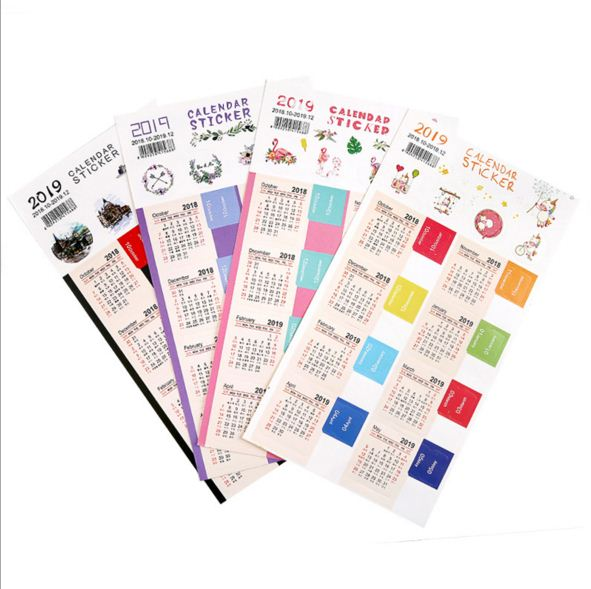 2pcspack new year calendar 2019 mini stationery decorative stickers label mark calendar sticker organizer index label sticker in stationery sticker from